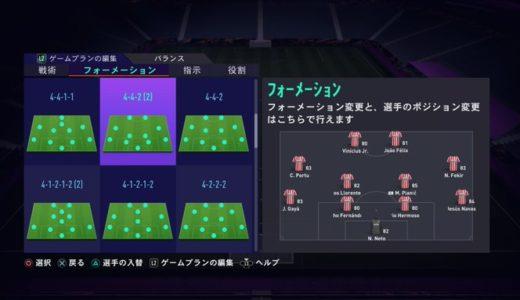 【FIFA21】4-4-2の戦い方。2トップを活かせ。攻守のバランスが取れた万能布陣