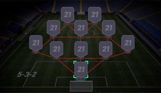 【FIFA21】「5-3-2」のカスタム戦術、選手への指示。5バックで守備安定。2トップで中央を突破